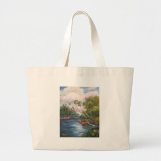Dorsal Fishing Post - Fish Camp St. Lucie River Large Tote Bag