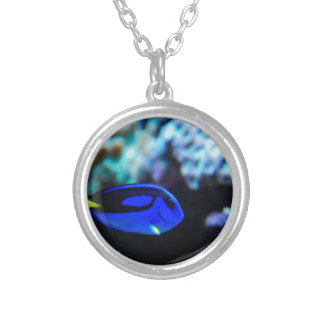 Dory , Blue Tang Fish Silver Plated Necklace