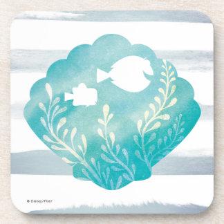 Dory & Nemo   Watercolor Shell Graphic Coaster