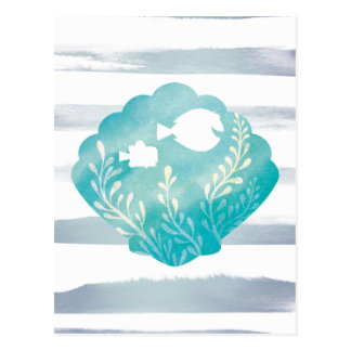 Dory & Nemo | Watercolor Shell Graphic Postcard