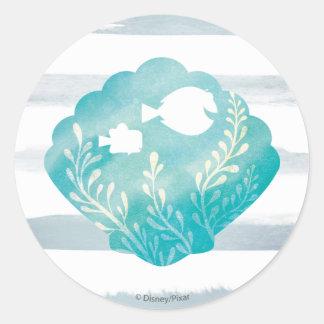 Dory & Nemo | Watercolor Shell Graphic Round Sticker