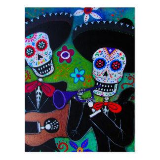 Dos Amigos Dia de los Muertos Mariachi Postcard