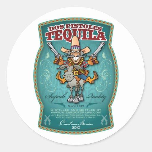 Dos Pistoles Tequila Round Sticker