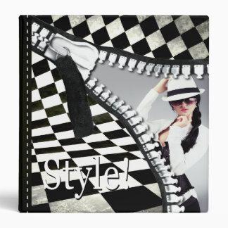 Dossier de tirette de damier de styliste de mode classeur vinyle
