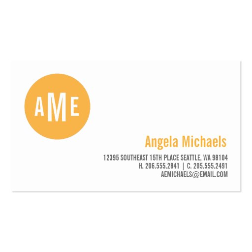 Dot Monogram Calling Card Business Card Template