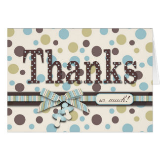 Dot Print and 3D-look Bow Thank You Card