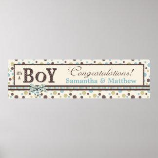 Dot Print Baby Shower Banner Boy