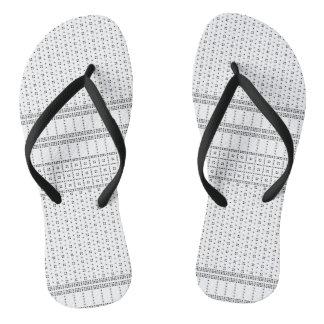 Dot Square Pattern Slim Straps Flip Flops