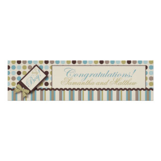 Dot & Stripe Baby Shower Banner Boy Posters