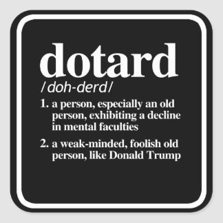 Dotard Definition Square Sticker