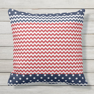 Dots and Chevron Patriotic USA Outdoor Pillow