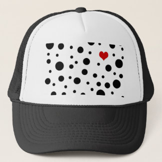 Dots and hart trucker hat