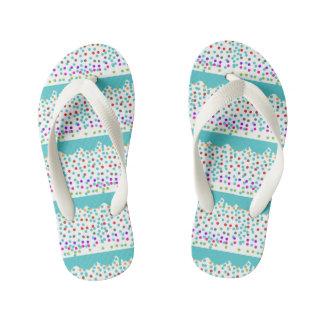 dots blue kid's flip flops