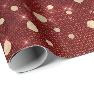 Dots Confetti Honey Burgundy Red Gold Spark Wrapping Paper