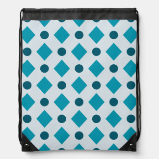 Dots & Diamond Pattern Turquoise Cinch Bags