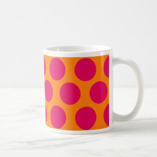 Dots Forever polka dot orange and hot pink Coffee Mug