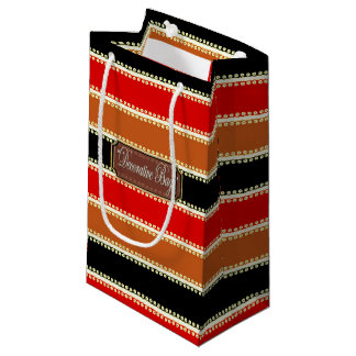 Dots inline Black Red Brown Striped Gift Bag