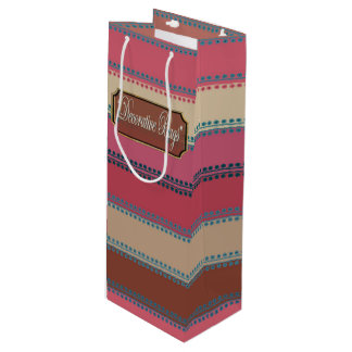 Dots inline Pinks Browns Striped Wine Gift Bag