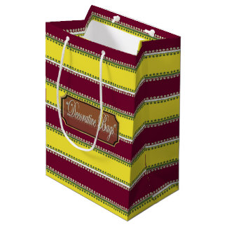 Dots inline Red Brown Yellow Striped Gift Bag