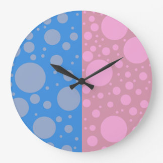 Dots Pink Blue Round (Large) Wall Clock