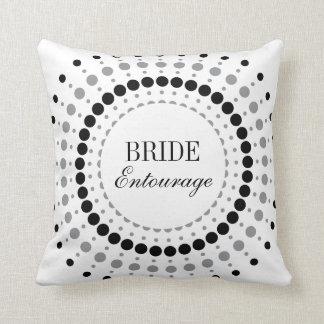 Dots Startburst Bride Entourage Throw Pillow