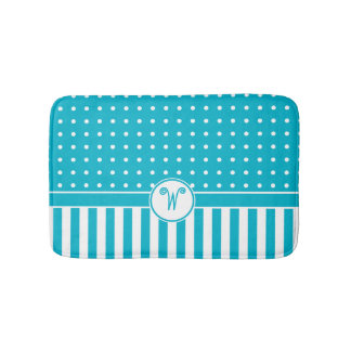 Dots Stripes Monogram Turquoise Bath Bath Mat