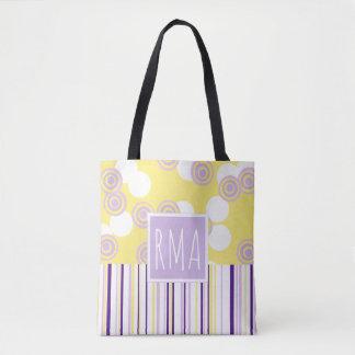 Dots & Stripes Yellow & Purple Monogram Tote Bag