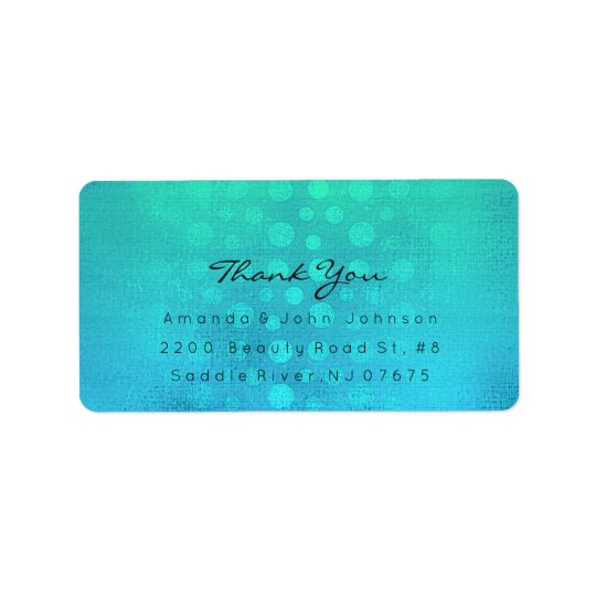 Dots Thank You Ombre Ocean Blue Beach Wedding Label