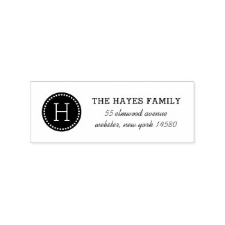 Dotted Circle Family Monogram Address Stamp