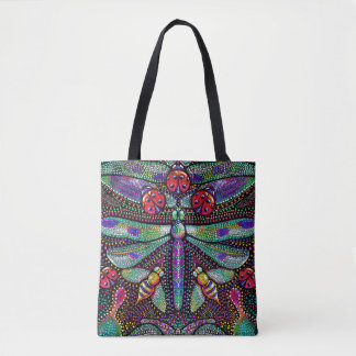 Dotted dragonfly printed tote shopping bag