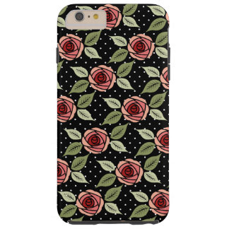 Dotted Girly Pink Roses Tough iPhone 6 Plus Case