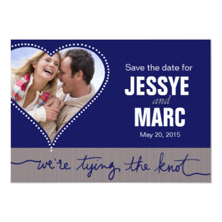 Dotted Heart Photo Save the Date navy gray Card