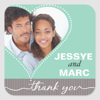 Dotted Heart Photo Thank You mint gray Square Sticker