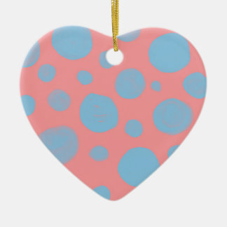 DOTTED  PATTERN, ABSTRACT DOTS IN  PINK AND BLUE CERAMIC ORNAMENT