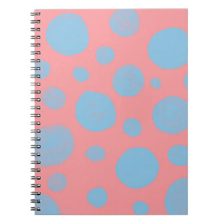 DOTTED  PATTERN, ABSTRACT DOTS IN  PINK AND BLUE SPIRAL NOTEBOOK