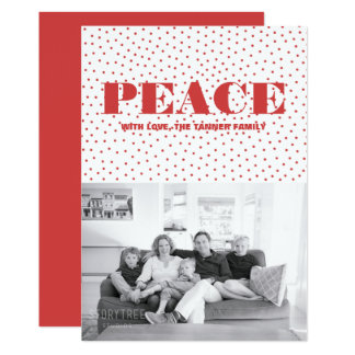 Dotted Peace Holiday Photo Card | Red