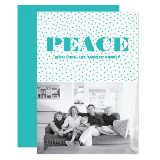 Dotted Peace Holiday Photo Card | Turquoise