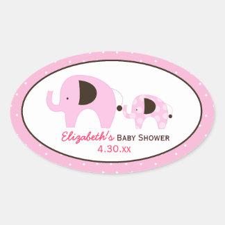Dottie Elephant (Pink) Custom Oval Favor Sticker