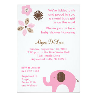 Dottie Pink Elephant Baby Shower Invitations