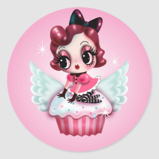 Dottie Rides a Flying Cupcake! Classic Round Sticker