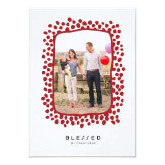 Dotty Border Holiday Photo Card // Red