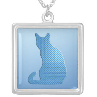 Dotty Cat - shades of blue Silver Plated Necklace