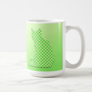 Dotty Cat - shades of lime green Coffee Mug