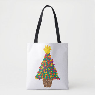 dotty christmas tree tote bag