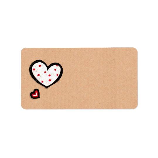 Dotty Hearts kraft Address Label
