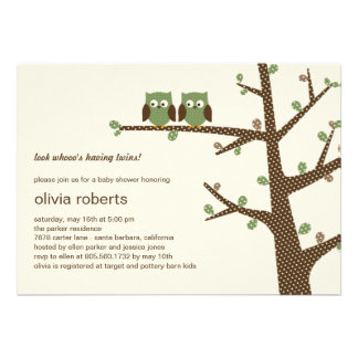 Dotty Owls Twins Baby Shower Invitation Personalized Invitations