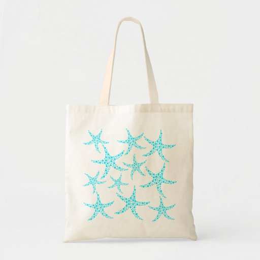 Dotty Starfish Pattern in Turquoise and White. Canvas Bag
