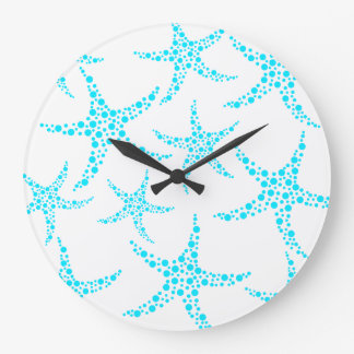 Dotty Starfish Pattern in Turquoise and White. Clocks