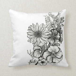dotwork art flower pillow