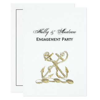 Double Anchor Heraldic Crest Emblem Faux Gold Card